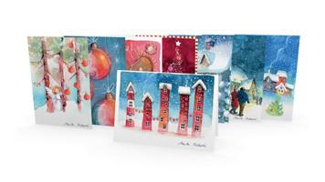 Positiivarit - 2-osaiset joulukortit 8kpl